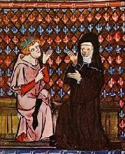 Medieval manuscript illustration of Abelard and Heloise.