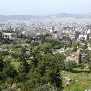 """The Agora, from the word meaning """"to assemble"""", was the center of Athenian democracy."""