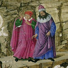 Virgil and Dante on their journey together as painted by Botticelli.