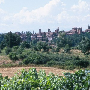 View of Certaldo, home town of Boccaccio in the valley of the Elsa river, southwest of Florence.