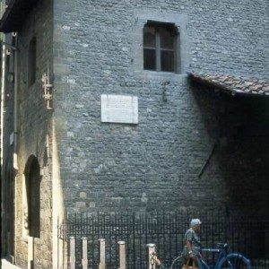 The house where Dante was born on Via Dante Alighieri in Florence.