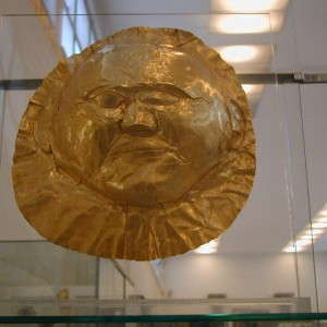 This mask is one of the treasures of Mycenae and preserves the world of Agamemnon and Menelaus in a golden mask dating from about 1500 B.C.