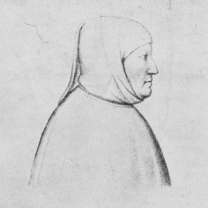 This drawing of Petrarch was done by his friend Lombardo della Sala in the manuscript of his last work, a biography of Julius Caesar in Latin. The original is in the Bibliothéque Nationale, Paris.
