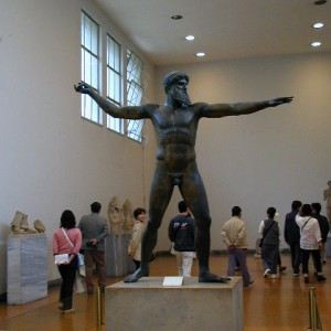 Poseidon. This bronze statue of the god Poseidon stands 82 inches high in the National Museum of Athens. It is a creation of the world of Pericles and Sophocles and dates from about 450 B.C.