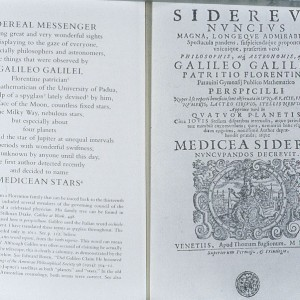 The first page of the first edition of The Sidereal Messenger (Sidereus Nuncius) printed in Venice in March of 1610.