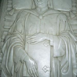 The tomb of Boccaccio in the center of the church of San Jacopo e San Filippo.